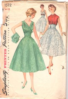 1950s Simplicity 1572  Empire Waist V Neck Cocktail Dress and Bolero by mbchills