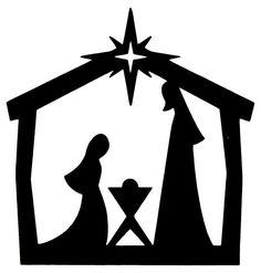 "xmas cards nativity silhouette | 10 x CHRISTMAS DIE CUT ""NATIVITY"" SILHOUETTES IN BLACK"