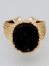 Onyx Druzy Wire Adjustable Ring