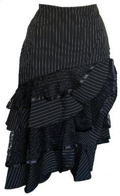 Burleska Black Pinup Pinstripe Gothic Steampunk Skirt