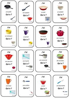 """qui a?"""" - la maternelle de camille - adaptable for any vocab set, fr i & ii French Teacher, Teaching French, Banner Fashion, French Worksheets, French Grammar, French Nouns, Core French, French Classroom, French Resources"""