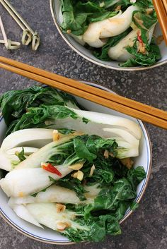 Spicy Stir-Fry Bok Choy with Ginger & Soy Sauce.  Baby bok choy is a tender Chinese vegetable, technically considered a cabbage, that cooks in a matter of minutes and can stand up to strong flavors, such as ginger, soy sauce, and chiles.  The white stalks hold a pleasant crunch while the dark green leaves pack a healthy punch of Vitamin A – 3500 IU per 4-ounce serving, to be exact.