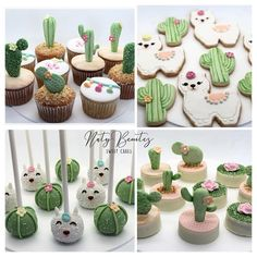 Roquefort mini cakes, smoked walnuts and bacon - Clean Eating Snacks Cactus Cupcakes, Cactus Cake, Sweet Cakes, Cute Cakes, Cakepops, Llama Birthday, Cute Desserts, Mexican Party, Cactus Y Suculentas