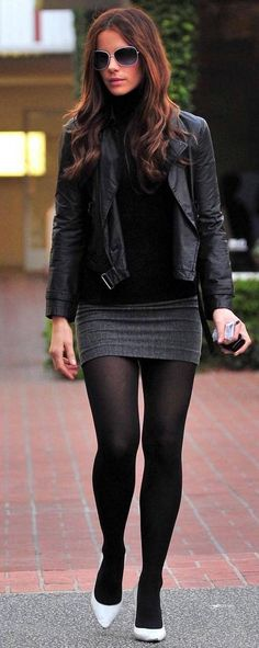 Tights and grey skirt