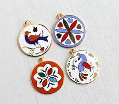 Vintage Hex Sign Pendant Lot - 4 Large Gold Tone Enamel Folk Art Costume Jewelry Charms - Distlefink Bird, Hearts / German Dutch Goodluck