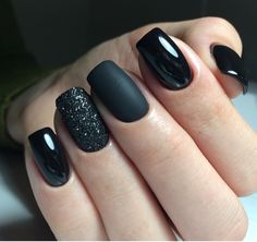 matte black and sparkle nails - sparkle matte nails . matte and sparkle nails . matte nails with sparkle . matte black and sparkle nails . Cute Nail Polish, Cute Acrylic Nails, Black Nail Polish, Glitter Nail Polish, Stylish Nails, Trendy Nails, Perfect Nails, Gorgeous Nails, Amazing Nails