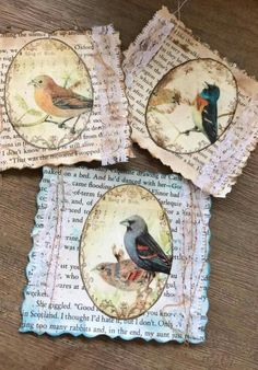 handmade greeting cards using upcycled papers . printed papers with birds and book page papers . Fabric Journals, Journal Paper, Junk Journal, Journal Ideas, Vintage Paper Crafts, Papel Vintage, Book Page Crafts, Scrapbook Embellishments, Artist Trading Cards
