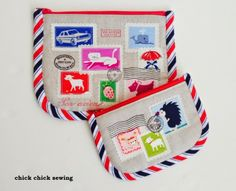 chick chick sewing: Airmail Zipper Pouch (from my new zakka patterns!