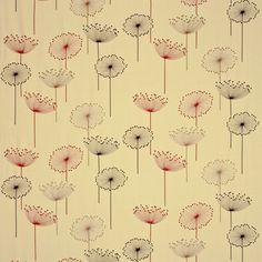 dandelion fabric | DESIGN CODE Linen/Red Silver/Blackcurrant Ivory/Orange Silver/Ivory ...