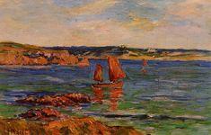 Red Rocks, huile sur toile de Henri Moret (1856-1913, France)