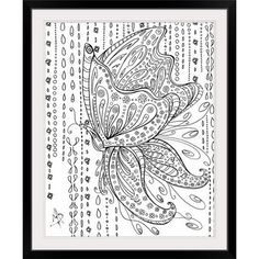Great Big Canvas 'Rainy Day Butterfly' by Megan Duncanson Graphic Art Print Format: Black Frame, Size: H x W x D Butterfly Drawing, Butterfly Wall Art, Canvas Wall Art, Wall Art Prints, Canvas Prints, Big Canvas, Canvas Size, Adult Coloring Book Pages, Coloring Pages