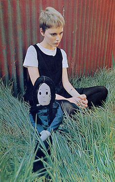 Mia Farrow--with a Severus Snape rag doll.  Wasn't this from around the time she was in Rosemary's Baby?  Hmmmm....#harrypotterforever