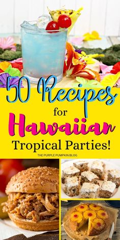 hawaiian food 50 Recipes for a Hawaiian Tropical Party. All the food amp; drink ideas you need from burgers, salads, and pork dishes, to desserts and drinks, there is a Hawaiian Tropical recipe for all! Hawaiian Desserts, Hawaiian Dishes, Hawaiian Bbq, Hawaiian Luau Party, Hawaiian Recipes, Hawaiian Theme Food, Hawaii Food Recipes, Hawaiian Appetizers, Hawaiian Drinks