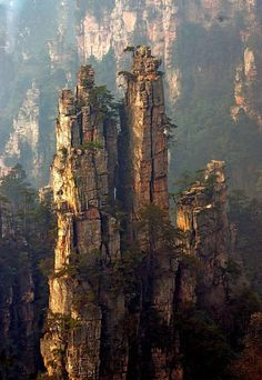 Zhangjiajie - Hunan, China Here you can find more than a thousand sandstone columns of 200 metres tall. Check this super 360° view from the bottom!