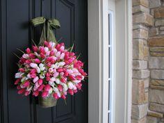 SPRING SALE Pink Tulips Bucket of Spring Tulips by twoinspireyou
