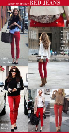 how to wear red jeans.