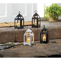 BUY 3 LANTERNS AND GET 20% off! White Iron Mini Contemporary Candle Lantern