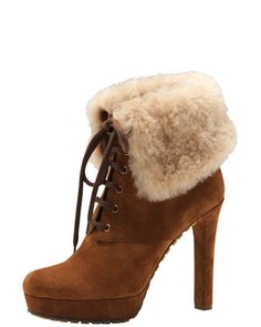 Shearling-Cuff+Suede+Bootie+by+Gucci+at+Bergdorf+Goodman.