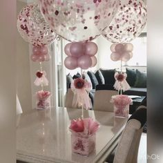 Confetti Balloons Bespoke Confetti light up Centrepiece Balloon Centerpieces, Balloon Decorations Party, Baby Shower Centerpieces, Birthday Party Decorations, Balloon Ideas, Baby Girl Shower Themes, Girl Baby Shower Decorations, Baby Shower Backdrop, Shower Party