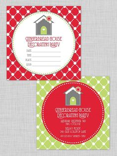 gingerbread house decorating party by TomKat Studios: free invitation printable