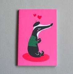 Badger in Green Jacket and Black Beret  Notebook (pink)