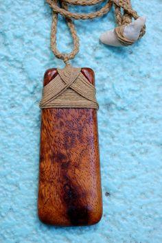 Hawaiian Adze Necklace Hand Carved Birds Eye Koa by KoaKarver