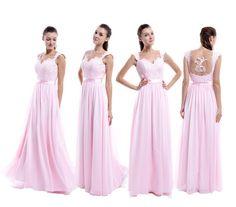 105.00$  Buy here - http://viyup.justgood.pw/vig/item.php?t=lcptk9k24917 - A Line Illusion Cap Sleeve Long Pink Chiffon Bridesmaid Dress Size 2 4 6 8 10++