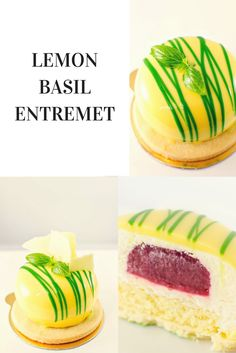This LEMON BASIL ENTREMET is so delicious. The basil and lemon mousse pairs so well with the strawberry insert that one tiny little cake is not enough.