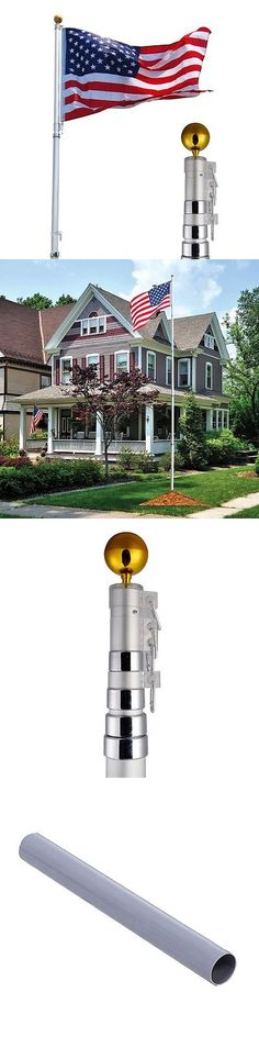 flag poles and parts 16 20 25ft aluminum telescoping flagpole kit outdoor gold ballamerica flag vip u003e buy it now only on ebay pinterest