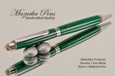 Stylus / Ballpoint Pen handmade from Malachite TruStone with Chrome / Gun Metal finish