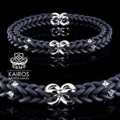 White Swarovski Zirconia bracelet black with silver elements. Designer Jewelry by KAIROS. Designer Jewelry, Jewelry Design, Swarovski Bracelet, Schmuck Design, Bracelets, Silver, Collection, Black, Fashion