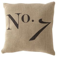 Number 7 Pillow found on Polyvore featuring home, home decor, throw pillows, natural and cotton throw pillows