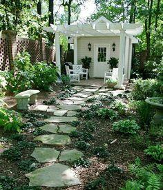 Cottage Garden Sheds, Landscape Design, Garden Design, Landscape Fabric, Balcony Design, Flagstone Path, Brick Walkway, Front Yard Landscaping, Landscaping Ideas