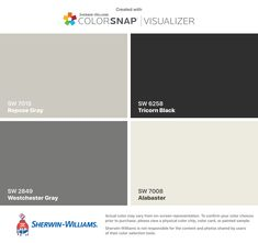 I found these colors with ColorSnap® Visualizer for iPhone by Sherwin-Williams: Fawn Brindle (SW Anonymous (SW Sealskin (SW Origami White (SW Farmhouse Paint Colors, Exterior Paint Colors For House, Paint Colors For Living Room, Paint Colors For Home, Exterior Colors, Paint Colours, Origami White, Pintura Exterior, Sweet Home