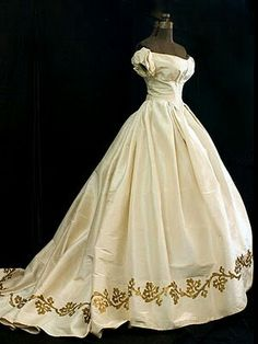 Ca. 1860 Silk Moiré Ball Gown with Metallic Gold appliquéd Hem Border