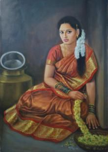 Tamil Saree Painting - Tamil Girl Sitting by Vishalandra Dakur Ravivarma Paintings, Indian Art Paintings, Realistic Paintings, Woman Painting, Figure Painting, Indian Traditional Paintings, Indian Women Painting, Composition Painting, Saree Painting