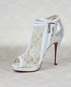 Modern Christian Louboutin White Lace Veil Stiletto Heel