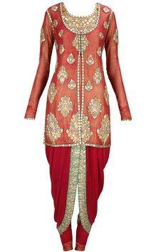 Ruby pink embellished jacket with dhoti pants and sage green dupatta available only at Pernia's Pop-Up Shop.
