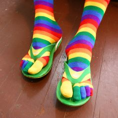 Rainbow Socks With Flip flops