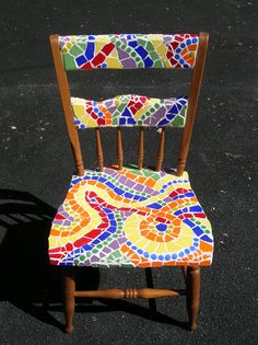 mosaic chair - primary & secondary colors- better if the wood was painted a bright color.