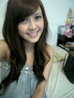 Dark Brown for Asian Hair Asian Hair Bangs, Long Hair With Bangs, Long Hair Cuts, Long Hair Styles, Side Swept Hairstyles, Hairstyles With Bangs, Cool Hairstyles, Ombre Hair Color, Brown Hair Colors