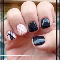 Black white nude lines gel manicure. Nail art gel.