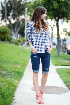 Gingham button down, one-side tuck, and denim shorts