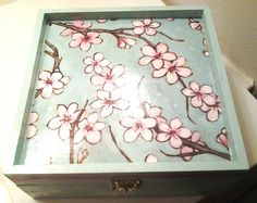 Teal Hand Painted Wooden Keepsake Box For Sale by WhitneyHawks