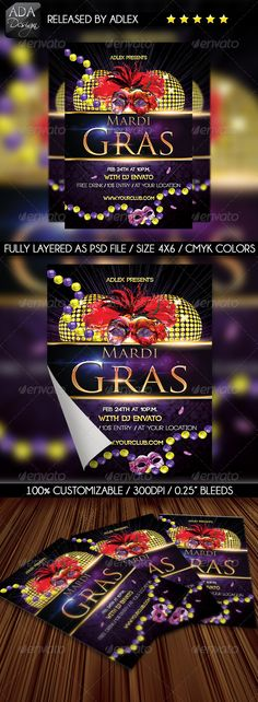 """Amaze your clients with an amazing party theme, coming with a special flyer! DESCRIPTION Included you will find a 300dpi PSD file of 4x6 size with 0.25"""" bleeds. The color mode is CMYK. FILE FEATURES Fonts used: Code: http://www.dafont.com/code.font Trajan Pro:"""