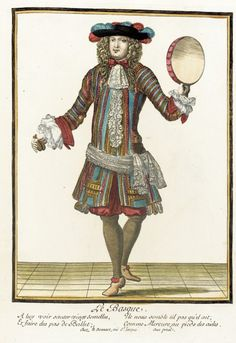 """1678-1693 French Fashion plate """"Recueil des modes de la cour de France, 'Le Basque'"""" at the Los Angeles County Museum of Art, Los Angeles"""