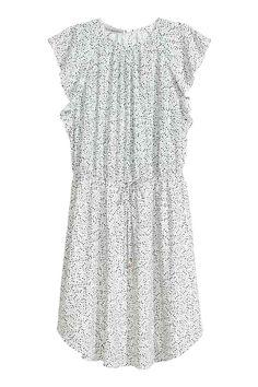 Rochie cu mâneci cu volane - Alb/cu picăţele - FEMEI | H&M RO
