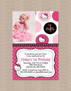 Hello Kitty Inspired Birthday Party Invitations by Honeyprint, $15.00 2nd Birthday, Birthday Ideas, Hello Kitty Birthday, Kitty Party, Invitation Ideas, Birthday Party Invitations, My Children, Party Planning, First Birthdays
