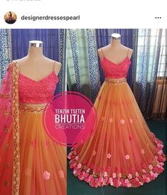 Pretty colour and design Half Saree Lehenga, Lehnga Dress, Indian Lehenga, Half Saree Designs, Lehenga Designs, Indian Wedding Outfits, Indian Outfits, Indian Designer Outfits, Designer Dresses