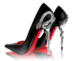 black and red snake heel